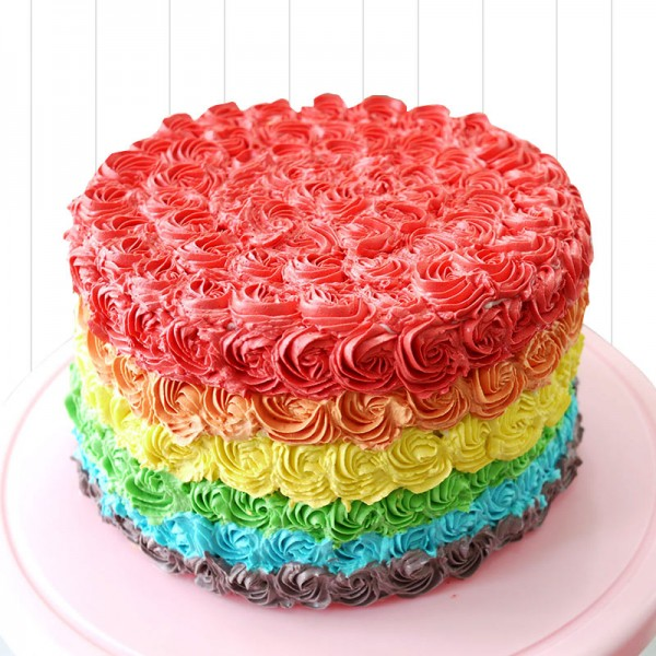 With Creamy Vanilla Or Chocolate Cream Coating The Outer Layer And 7 Dazzling Colors Of Rainbow Inlaid In Each Layers Cake