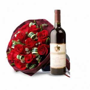 Flowers with Assorted Choice of Wine