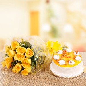 Butterscotch Cake and Yellow Roses