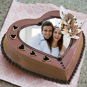 Personalized heart shaped cake