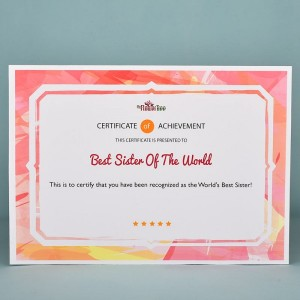 World's Best Sister Certificate